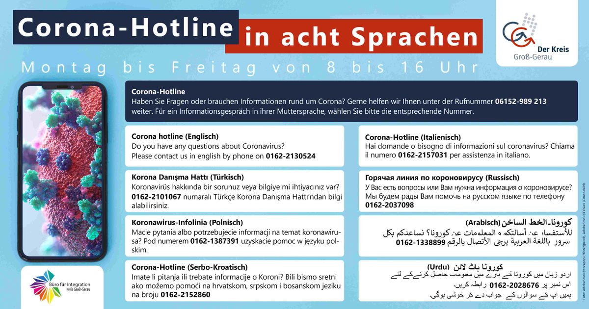Corona Hotline in 8 Sprachen